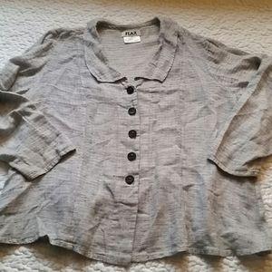 FLAX  Black & White Button Up Linen 1X Shirt Top